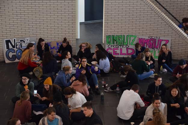 So veranstalteten auch Schüler der Kantonsschule Wohlen am 25. Januar 2019 einen Sitzstreik aus Solidarität zu Greta Thunberg.