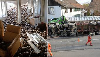 Sattelschlepper mit Zuckerrüben kracht in Wohnhaus in Schwerzenbach