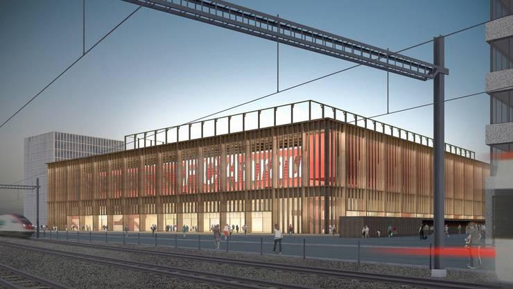 So soll das neue Fussballstadion in Aarau aussehen.