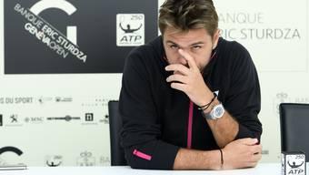 Stan Wawrinka bei der Pressekonferenz in Genf vor dem Turnierstart.