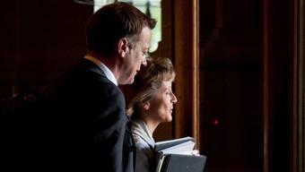 Die BDP vor unsicherer Zukunft: Präsident Martin Landolt und Bundesrätin Widmer-Schlumpf.