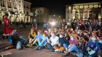 Klimaaktivisten besetzen Bundesplatz in Bern im September 2020