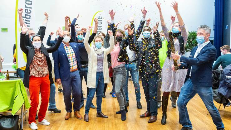 Die Freude über die gewonnenen sechs Sitze ist riesig: Die Grünliberalen feierten im Kultur- und Kongresshaus in Aarau.