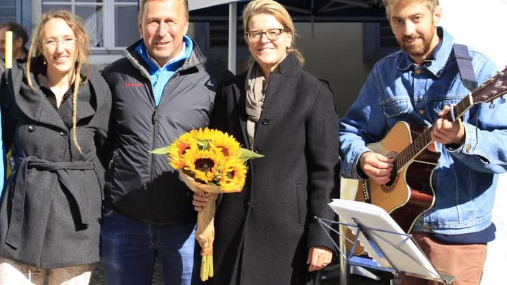 Jeanine Riesen, Peter Baumann, Andrea Lenggenhager und Andreas Fröhlich eröffnen die Mobilitätstage 2017 in Solothurn.