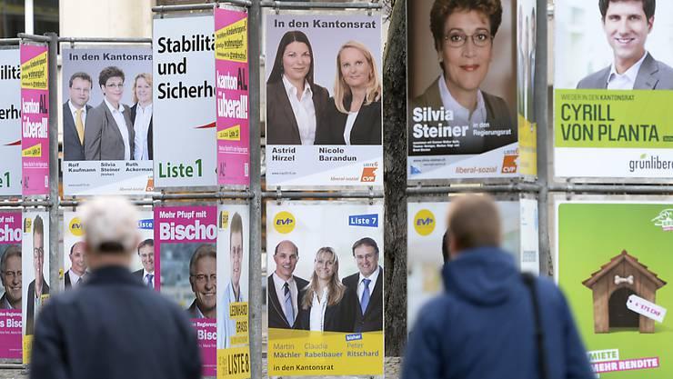 Wahlplakate für die Zürcher Regierungs- und Kantonsratswahlen vor vier Jahren. Im März wählt der Kanton erneut. Insgesamt sind es fünf Kantone, die im eidgenössischen Wahljahr 2019 ihre Regierung neu bestimmen.