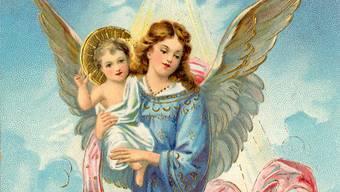 Das Christkind verbreitete sich zuerst in Deutschland. Weihnachtskarte von 1910.