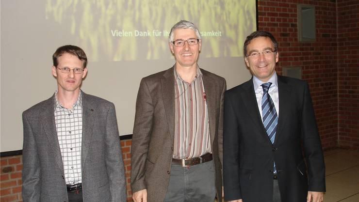 Philip Kaysel, Energieberater Region Grenchen-Büren, Konrad Schleiss, Präsident Repla GB, Mario Chirico, Präsident HEV Grenchen.zvg