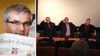 Ist «Rettet Basel» ein Dorn im Auge: BaZ-Chefredaktor Markus Somm (links). Lassen sich nicht blenden: Felix Rudolf von Rohr, bz-Chefredaktor Matthias Zehnder und Remo Leupin von der «Tages-Woche» diskutierten über die BaZ.