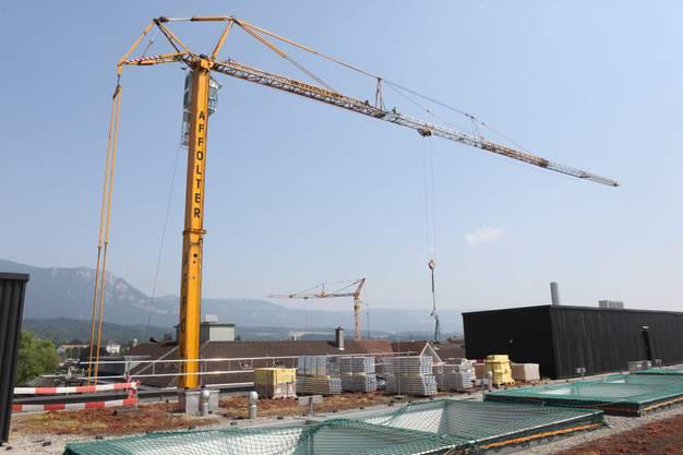 Insgesamt 62 Tonnen werden bis Ende Juli in zwei Etappen aufs Dach gehievt.
