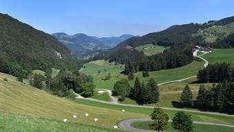 Blick vom Scheltenpass in Richtung Guldenthal und Brunersberg (rechts oben).