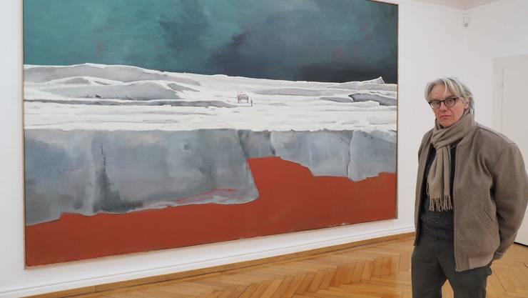 Marc-Antoine Fehr vor «Le Livreur», 2014, Öl auf Leinwand, 260 auf 400 Zentimeter. Das Bild hängt während der Ausstellung im zweiten Stock.
