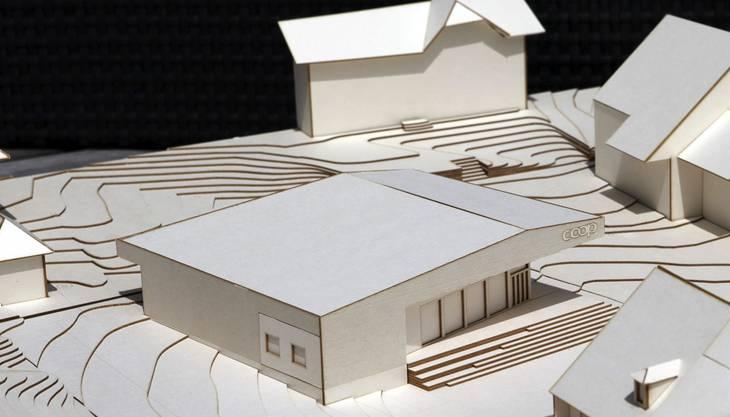 Blick auf den Coop-Neubau im Modell aus derselben Richtung.