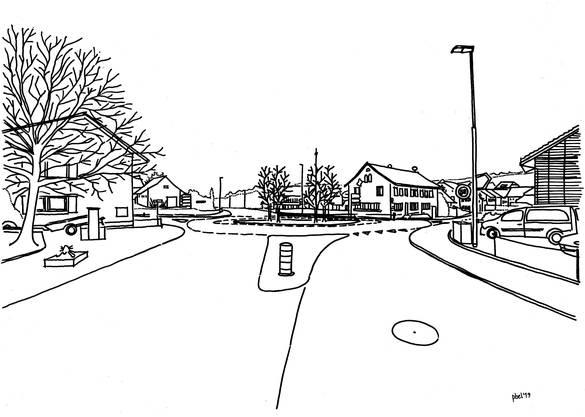 Die Skizzen zeigen die Kreuzung Bözberg- und Bahnhofstrasse in Effingen Richtung Bözen mit der bestehenden Einspurstrecke und dem geplanten Kreisel.