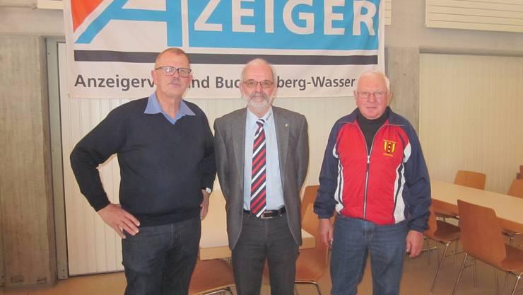 v.l. Hans Leuenberger, Präsident ; Alex Mann, Präsident der Kantonalen Veteranen und 2. Rang  Jahresmeisterschaft; Godi Ingold 3. Rang