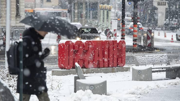 Schneegestöber in Chiasso, am südlichsten Zipfel der Schweiz.