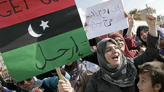 Anti-Gaddafi-Proteste in der ostlibyschen Hafenstadt Derna