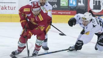 Nicht nur in diesem Duell der Sieger, sondern auch mit seinen SCL Tigers gegen Fribourg: Maxime Macenauer (im roten Dress)