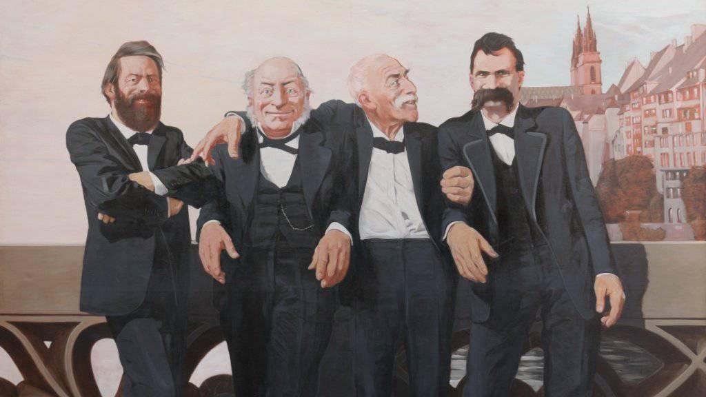 Böcklin, Bachofen, Burckhardt und Nietzsche auf der Mittleren Brücke in Basel. Ölgemälde von Johannes Grützke von 1970 in der Ausstellung «Basel Short Stories» im Kunstmuseum Basel.
