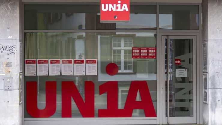 Der Eingang zum Gewerkschaftshaus der Unia in Basel
