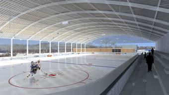 Zukunftsmusik: Die Visualisierung zeigt, wie die neue Urdorfer Eisbahn aussehen könnte - wenn sie denn gebaut werden kann. (zvg)
