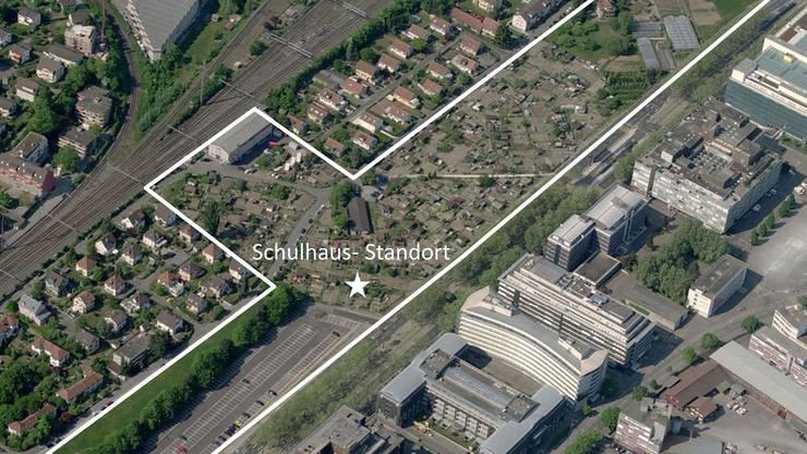 In diesem Gebiet an der Thurgauerstrasse sollen neben einem neuen Schulhaus auch fünf Hochhäuser von bis zu 70 Metern Höhe gebaut werden.