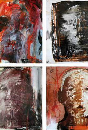 Während Christophe Hohlers Bilder in der Hirslanden-Klinik Birshof für Unmut Sorgen (l.), wurde seine Ausstellung in der Psychiatrie Baselland in Liestal bisher nicht kritisiert. Markantester Unterschied: Eher blaue statt rote Farbtöne.