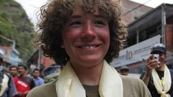 Rekord-Bergsteiger Jordan Romero nach der Besteigung des Mount Everest Ende Mai 2010