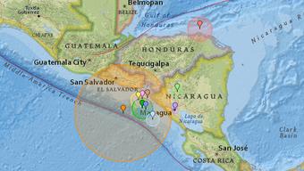 120 Kilometer vor der Küste von El Salvador entfernt ereignete sich der Erdstoss.