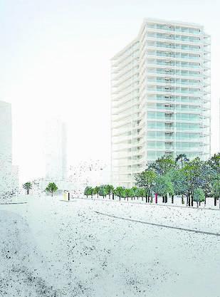 Der Siegerentwurf «Buds» der Churer Architektin Angela Deuber überzeugte die Jury mit seiner fragilen Fassade.