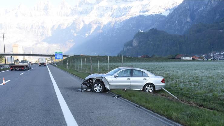 Das Auto kollidierte mit einem Wildschutzzaun.