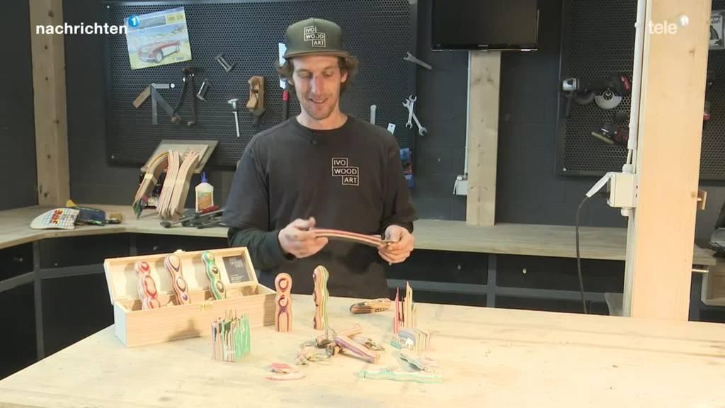 Schwyzer macht Holzdildos aus alten Skateboards