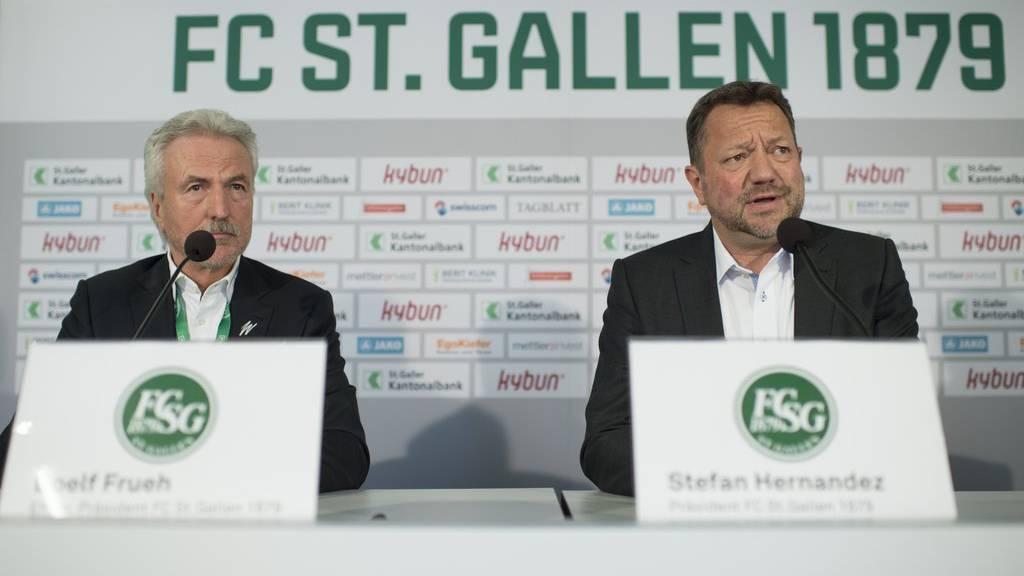 Nach dem Abgang von Dölf Früh (links) und der Übernahme durch Stefan Hernandez braucht der FCSG einen Neuanfang, findet Dominic Ledergerber.