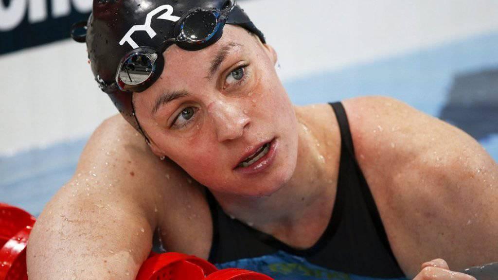 Immer alles in gewohnten Bahnen: Schwimmerin Danielle Villars hält sich an jede Regel und steht vor Wettkämpfen immer links vom Böckchen. (Archivbild)
