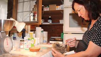 Danielle Lenzin, Leiterin der Igelstation, füttert einen geschwächten Igel.