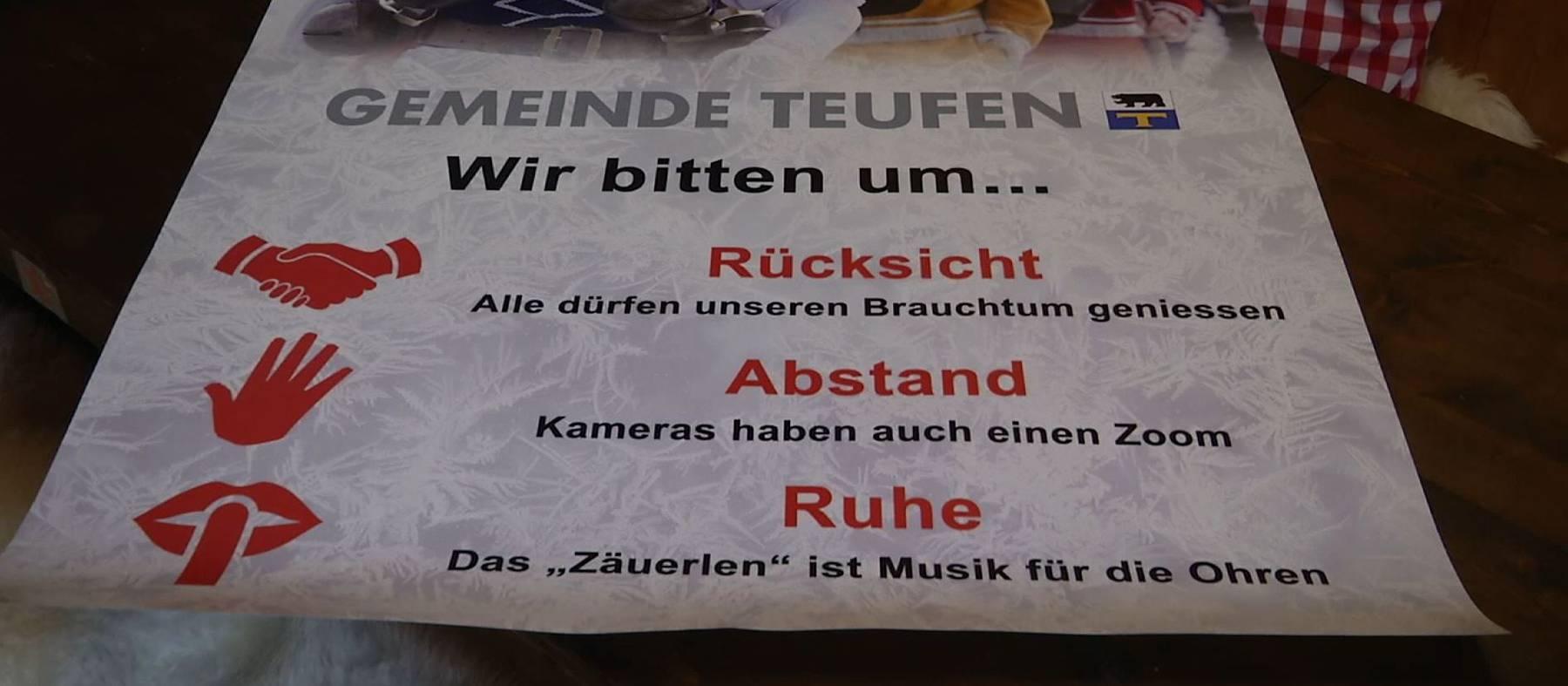 Dieses Plakat soll die Zuschauer sensibilisieren.(Bild: TVO/Marc Sieger)