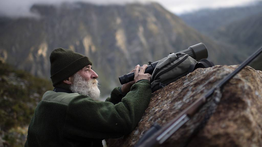 Ein Jäger beobachtet auf der Bündner Hochjagd im September Gamswild im Gebiet «Roggen» oberhalb von Klosters (Archivbild)