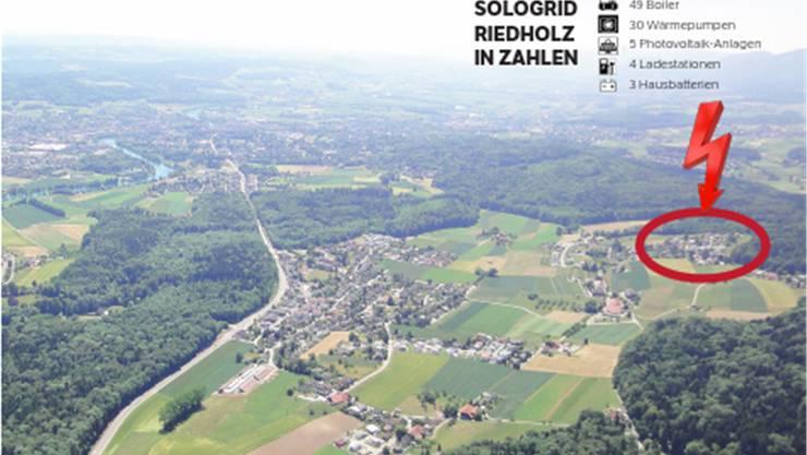 Blick auf die Gemeinde Riedholz: Im Quartier rechts im Bild wird die Energiezukunft geprobt.
