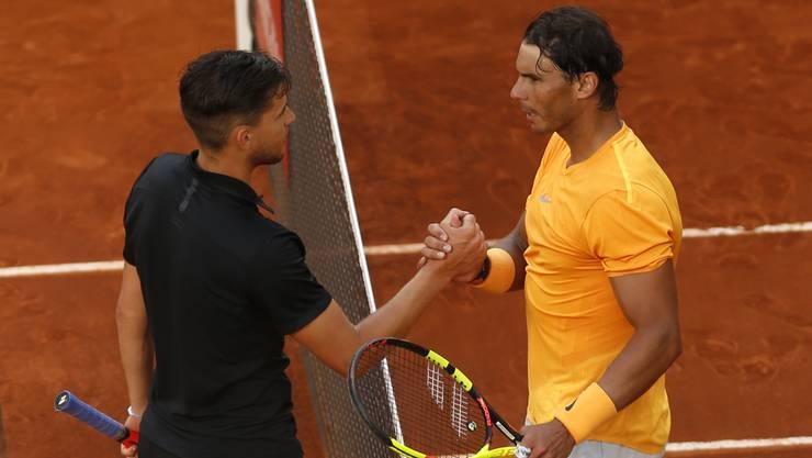 Alle bisherigen zehn Duelle zwischen Dominic Thiem und Rafael Nadal fanden auf Sand statt.