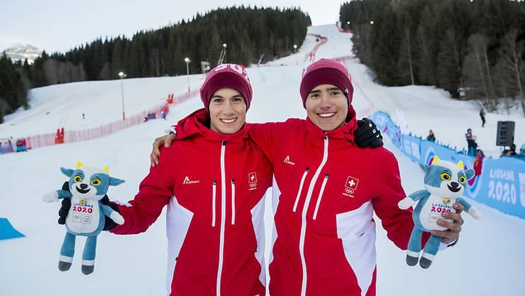 An den Jugend-Winterspielen resultierten für Sandro Zurbrügg (rechts) und Luc Roduit im Riesenslalom Silber und Bronze