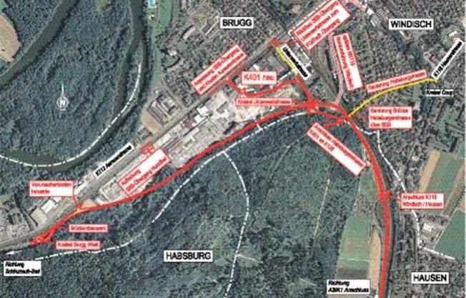 Die Südwestumfahrung (dicke, rote Linie) wird dem Waldrand folgen bis nach Hausen.