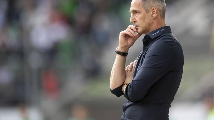 Wahrte in der Pause in St. Gallen ruhig Blut: YB-Trainer Adi Hütter