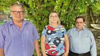 V.l.n.r.:Markus Hunn,Heimleiter, Christine Lehner,Leiterin Pflege, Richard Marty,Vereinspräsident.