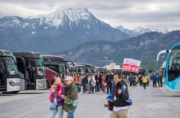 Imposant: Die 95 Cars vor der Bergkulisse auf der Luzerner Allmend.