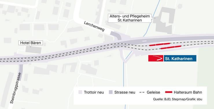 Und so werden die Gleise dann beim St.Katharinen auf die Seite geführt