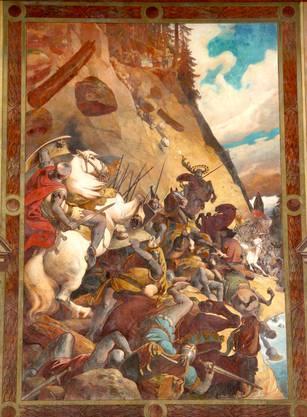 Noch heute ziert die Abbildung der Schlacht von Morgarten das Schwyzer Rathaus und zeigt den Mythos der siegreichen Bergbauern.