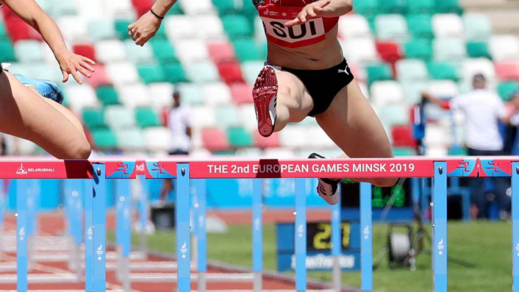 Noemi Zbären liefert an den Europa-Spielen in Minsk über 100 m Hürden ein gutes Rennen ab