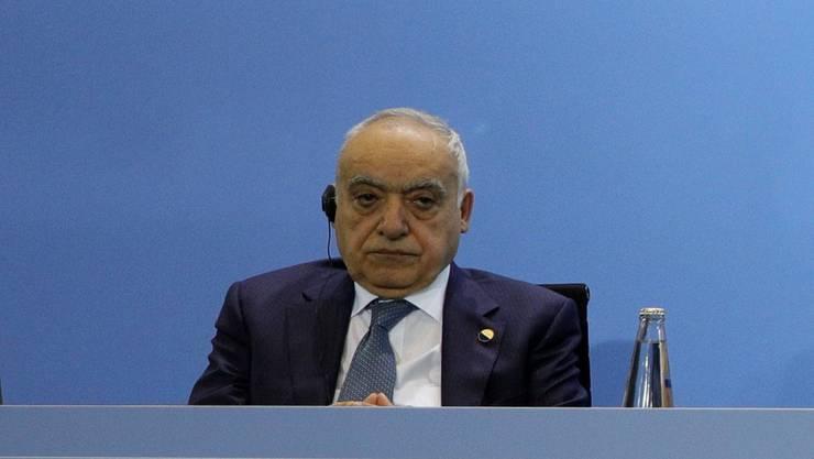 UN-Sonderbeauftragter Ghassan Salamé (ganz links) am Berliner Gipfel.