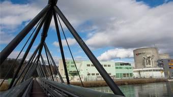 Im Bild die Brücke mit der Fernwärmeleitung, die vom AKW und der Insel Beznau wegführt.