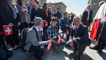 Bundesrat empfängt Schweizer Medaillengewinner von Sotschi in Bern