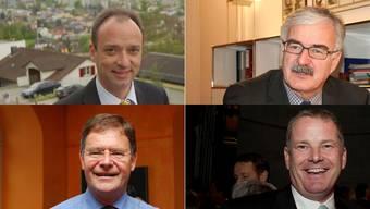 Ammänner der grössten Aargauer Gemeinden:  Markus Dieth (Wettingen), Marcel Guignard (Aarau), Walter Dubler (Wohlen) und Stephan Attinger (Baden) (von oben links nach unten rechts)